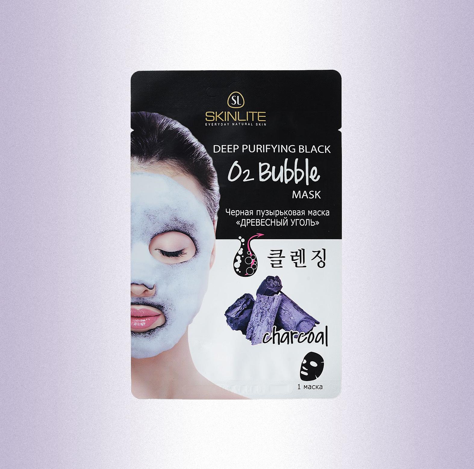 Черная пузырьковая маска «Древесный уголь», Skinlite