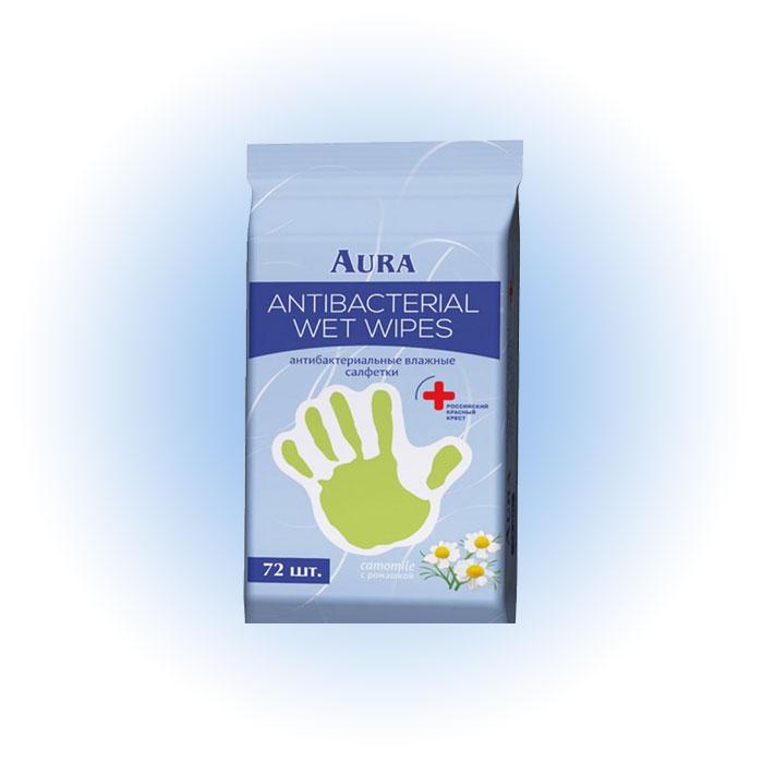Антибактериальные влажные салфетки, Aura