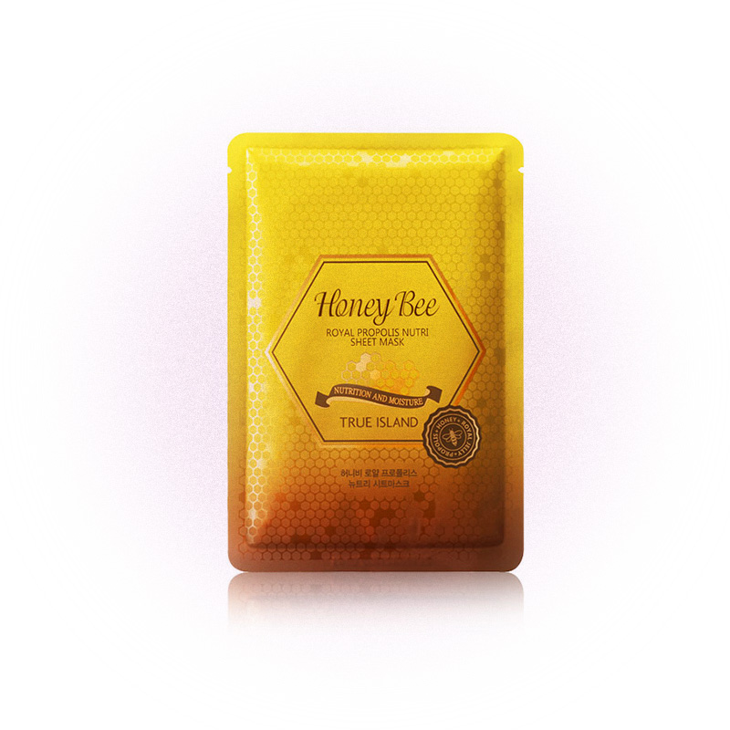 Маска на тканевой основе с экстрактом маточного молочка Honey Bee Royal Propolis Nutri Sheet Mask, True Island