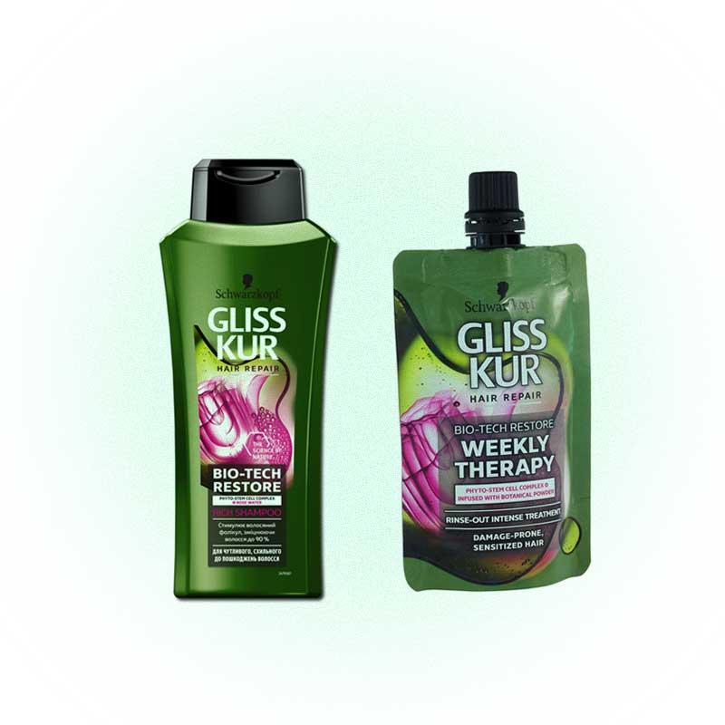 Маска-гоммаж и шампунь Weekly Therapy, Hair Repair, Gliss Kur