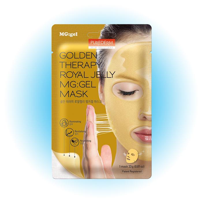 Гидрогелевая маска для сияния и упругости кожи Golden Therapy Royal Jelly MG:Gel Mask, Purederm
