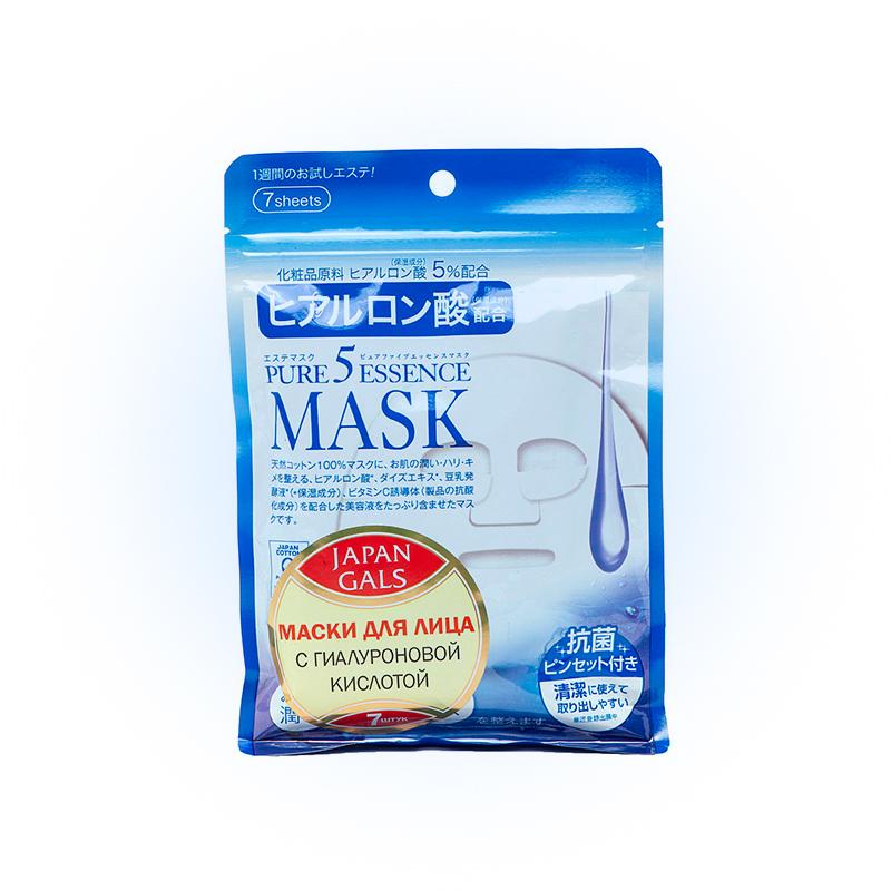Маска для лица с гиалуроновой кислотой Pure5 Essence Premium, Japan Gals