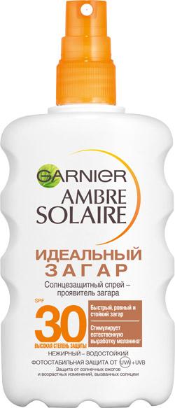 Солнцезащитный спрей-проявитель загара для светлой, уже загорелой кожи SPF 30 Ambre Solaire «Идеальный загар», Garnier