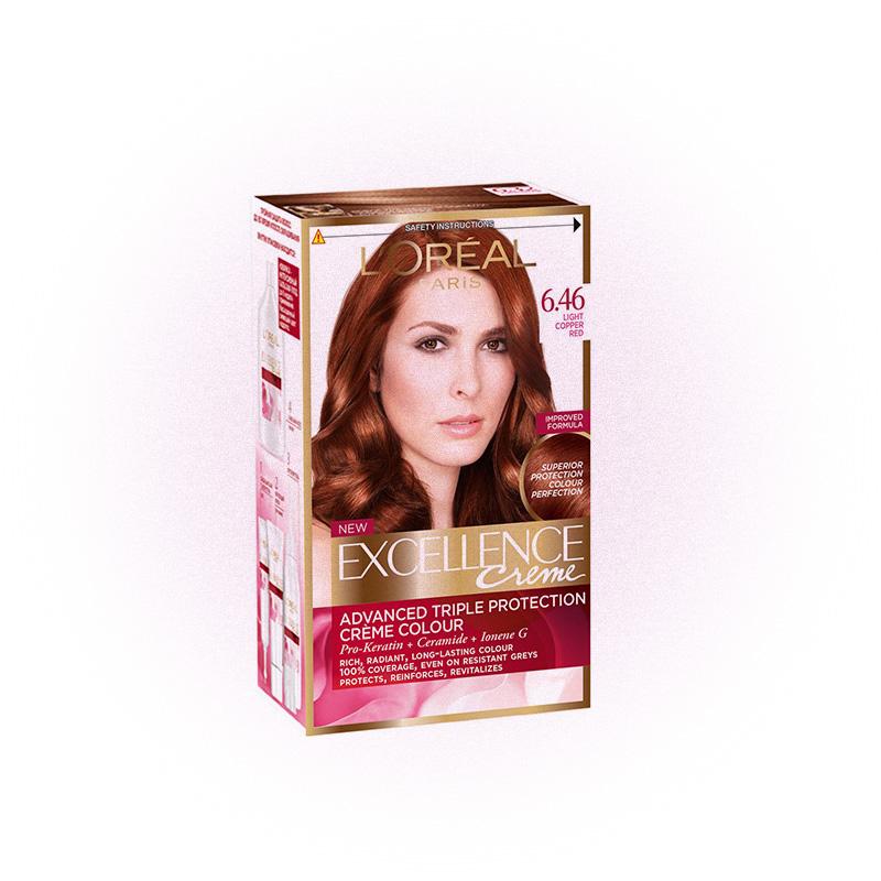 Стойкая крем-краска для волос Excellence 6.46 «Благородный красный», L'Oréal Paris