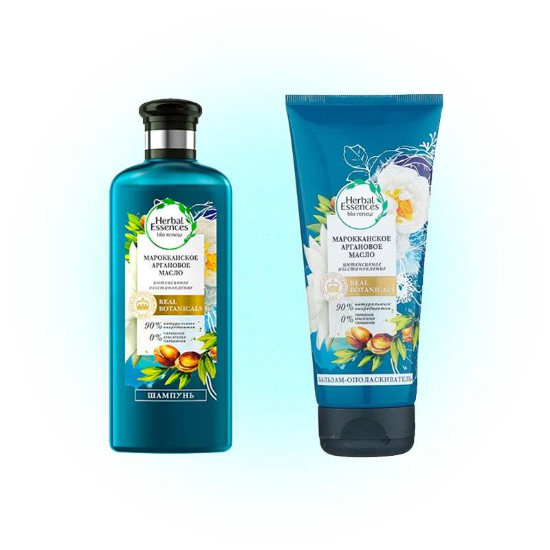 Шампунь и бальзам-ополаскиватель «Марокканское аргановое масло», Herbal Essences