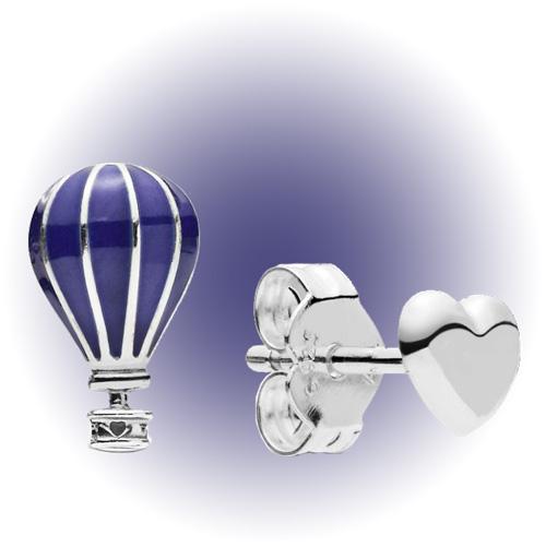 Серьги-пусеты «Воздушный шар и сердце», Pandora